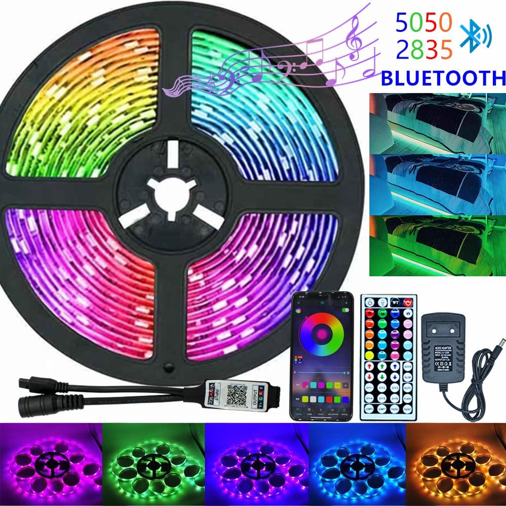 Светодиодная лента RGB 5050 2835 с инфракрасным/Bluetooth/Wi-Fi, гибкая лента с диодом, 12 В постоянного тока, 5 м, 10 м, пульт дистанционного управления + ада...