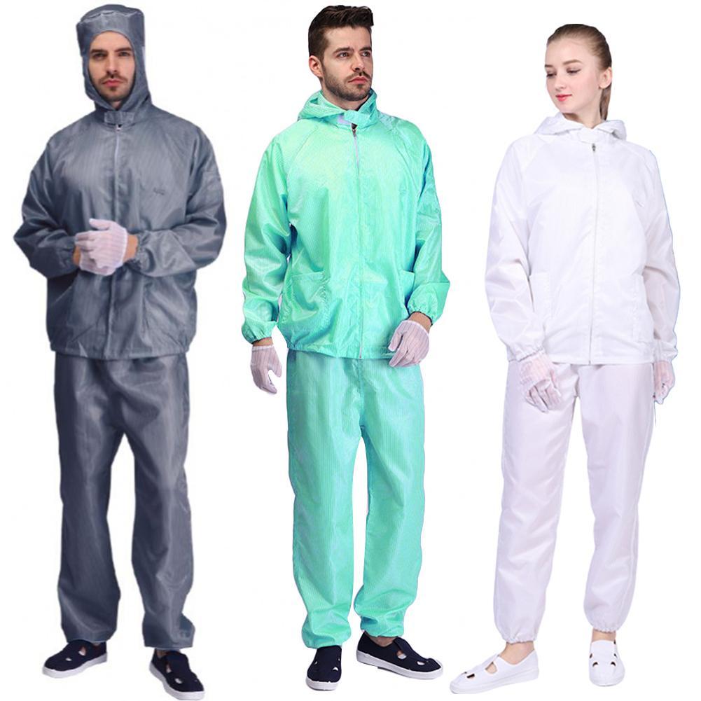 Unisex Pockets Hooded Coat Long Pants Isolation Anti-static Protection Suit Set Protective Suit Safety Anti Virus Isolation Suit