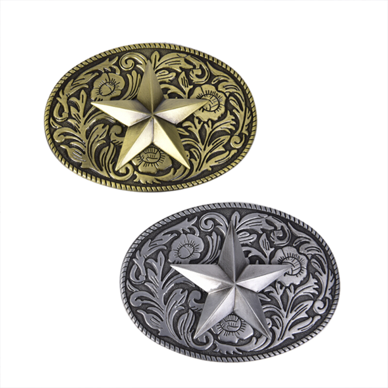 Western Cowboy Belt Buckle Metal Star Oval Bronze Metal Fashion Mens Buckles Jeans Belt Accessories