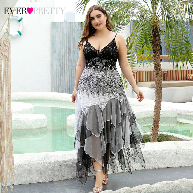 Plus Size Evening Dresses Asymmetrical Spaghetti Straps V-Neck Sequined Lace Formal Party Gowns Vestido 2020 2