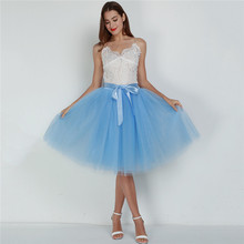 High Waist 7 Layer Midi Tulle Skirt Tutu Skirts Womens Petticoat Elastic Belt Summer faldas saia