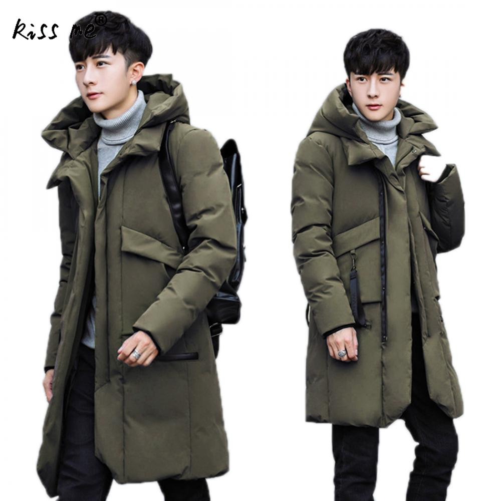 Solid Hooded Cotton Clothing Outdoor Down Jacket Men Winter Thermal Thicken Down Coat Windproof Warm Coat Male Casual Style