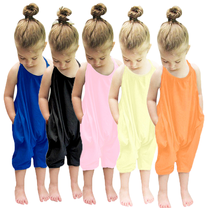 New Fashion Kids Baby Girls Strap Cotton Romper Toddler Sling Jumpsuit Harem Trousers Lace Up Sport Casual Loose Summer Clothes
