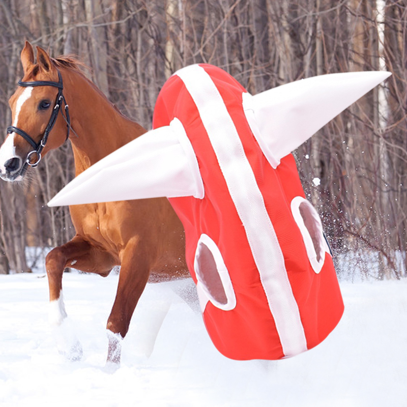 Novelty Winter Horse Hood Head Cover Plush Lined Headwear for Foal Horse Warm Clothing &T8