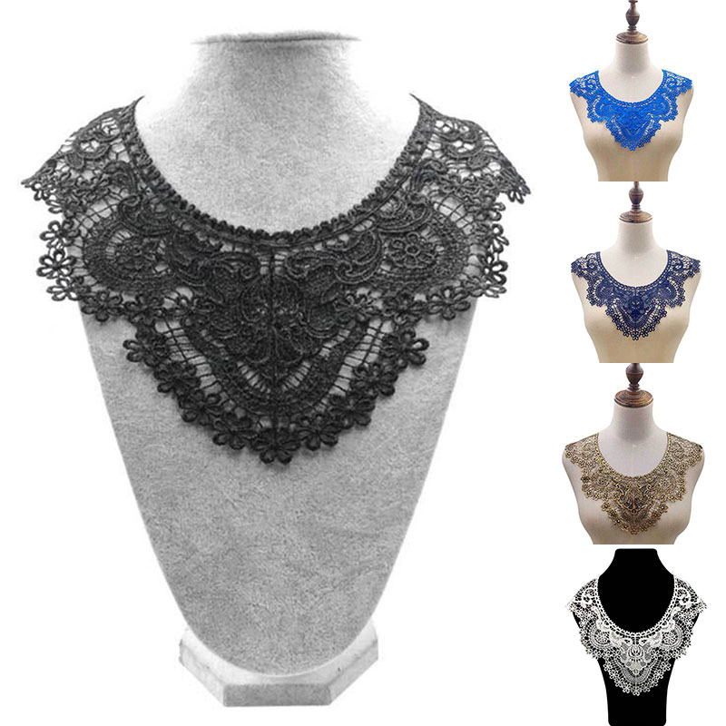 Luxury Embroidered Lace Neckline Surround Collar Trimming Dress Shawl Fake Collar Applique Clothes Decorated DIY Sewing Supplies