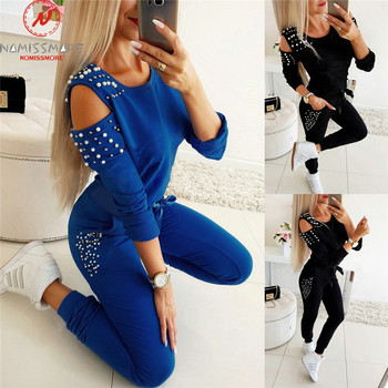 Women Casual 2 Piece Outfits Hollow Out Design Beading Decor O-Neck Long/Short Sleeve Solid Top+Drawstring Slim Pencil Pants 1