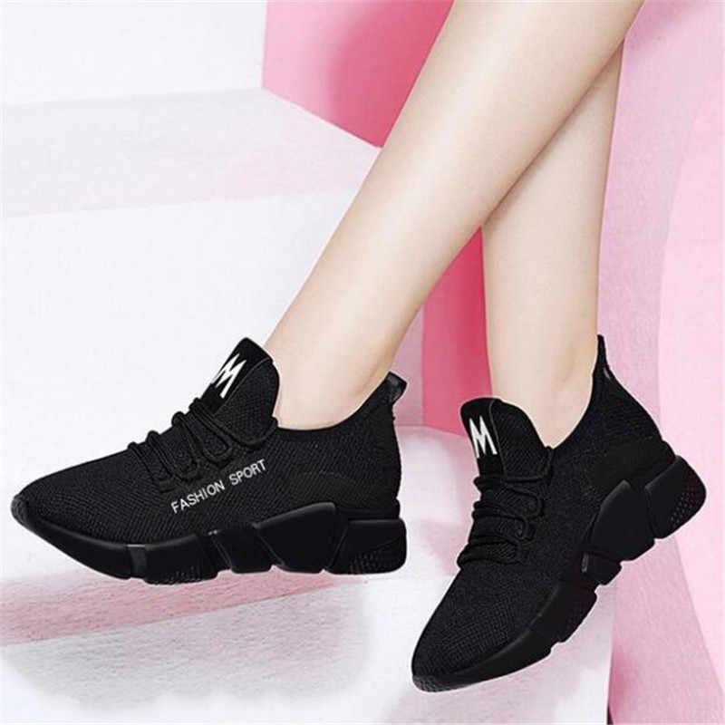 2019 bahar yeni kadın rahat ayakkabılar moda nefes hafif yürüyüş örgü lace up düz ayakkabı ayakkabı kadın D336