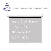 Thinyou 100 inch 4:3 Auto Self-Locking Screen Matte Gray Fabric Fiber Glass Pull Down  Manual Projector for HD projector