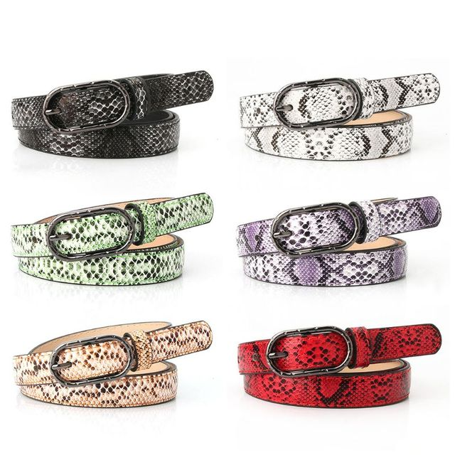 Women Imitation Leather, Snake Pattern Belt