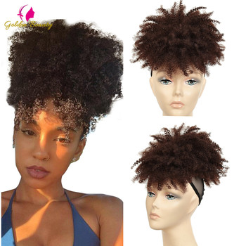 Puff Afro Kinky Curly Drawstring Ponytail With Bangs Hairpiece Synthetic Bun Chignon Clip in Pony Tail Hair Extension - discount item  35% OFF Synthetic Hair