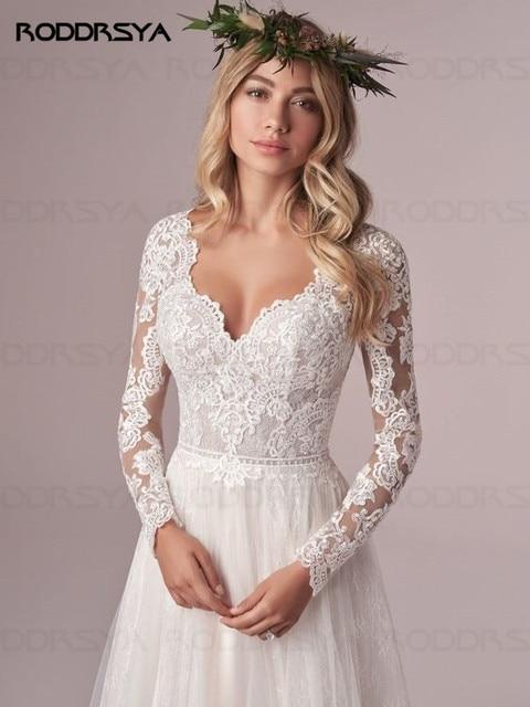 A Line Long Sleeve Wedding Dress Lace Bridal Dresses 2020 Tulle Ivory Vestido De Novia Open Back свадебное платье Plus Size 4