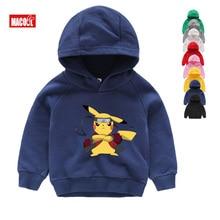 New Arrival Children POKEMON GO White Winter Hoodies Sweatshirts Kids Tops Girls Boys Long Sleeves Cute Pikachu Baby