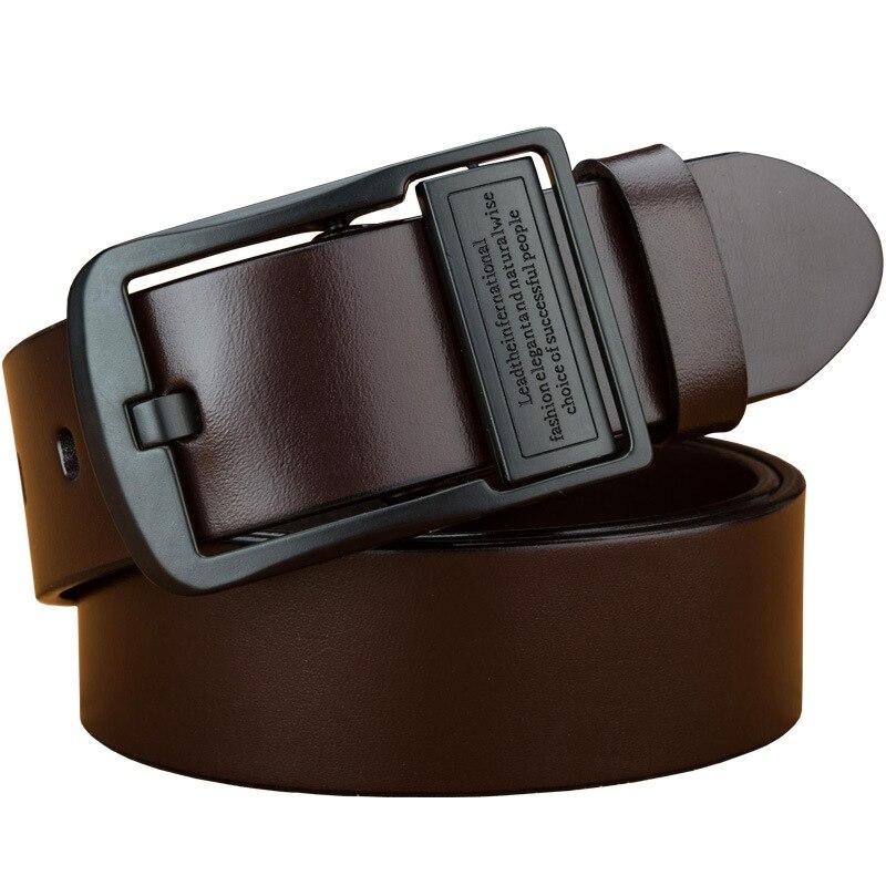 Cuir véritable pour hommes haute qualité noir boucle jean ceinture couche supérieure peau de vache ceintures décontractées ceinture d'affaires ceinture