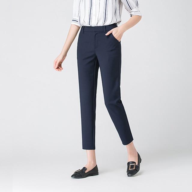 2020 Autumn Winter Middl Aged Women Warm Velvet Elastic Waist Casual Straight Pants Female Trousers 3