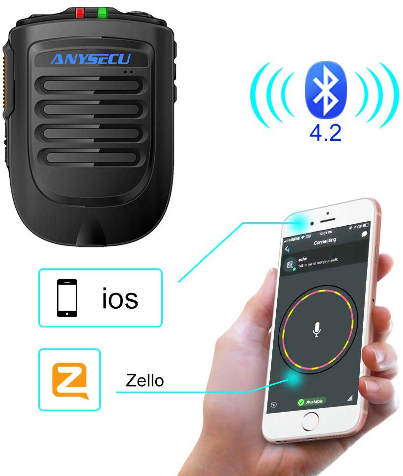 2020 New Bluetooth PTT Microhpone For Ios System Moblie Phone Work With Zello PTT Application