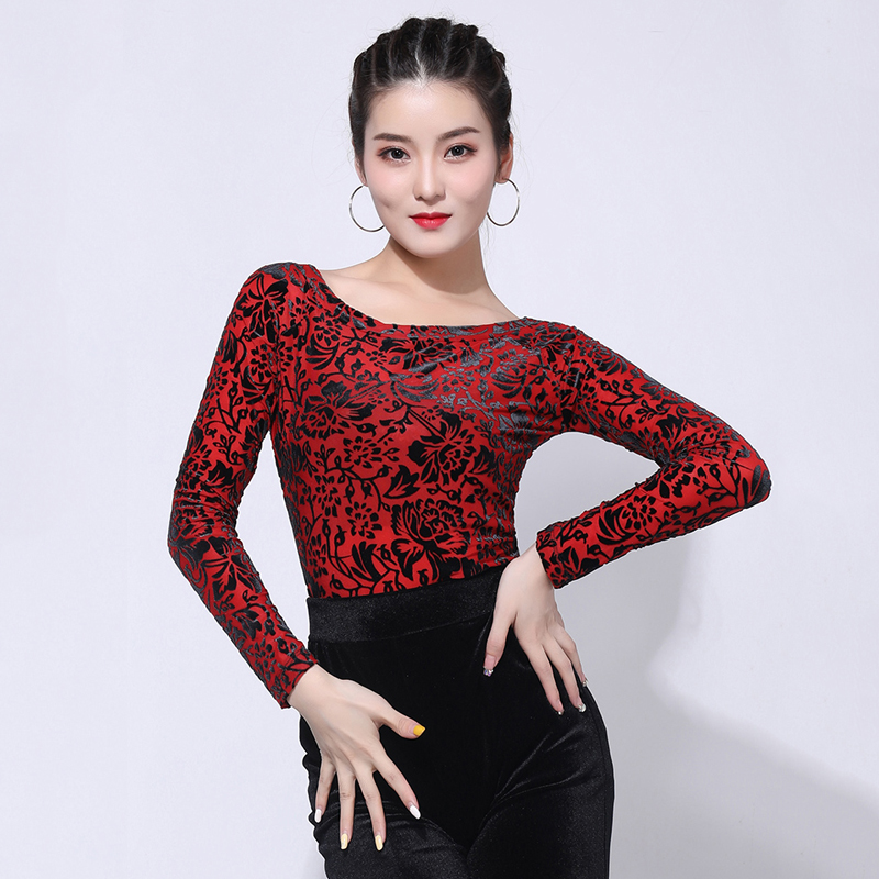 Elegant Latin Dance Tops Women'S Dancing Clothes New Ballroom Dance Top Long Sleeve Clothing Adult Professional Dance Costume