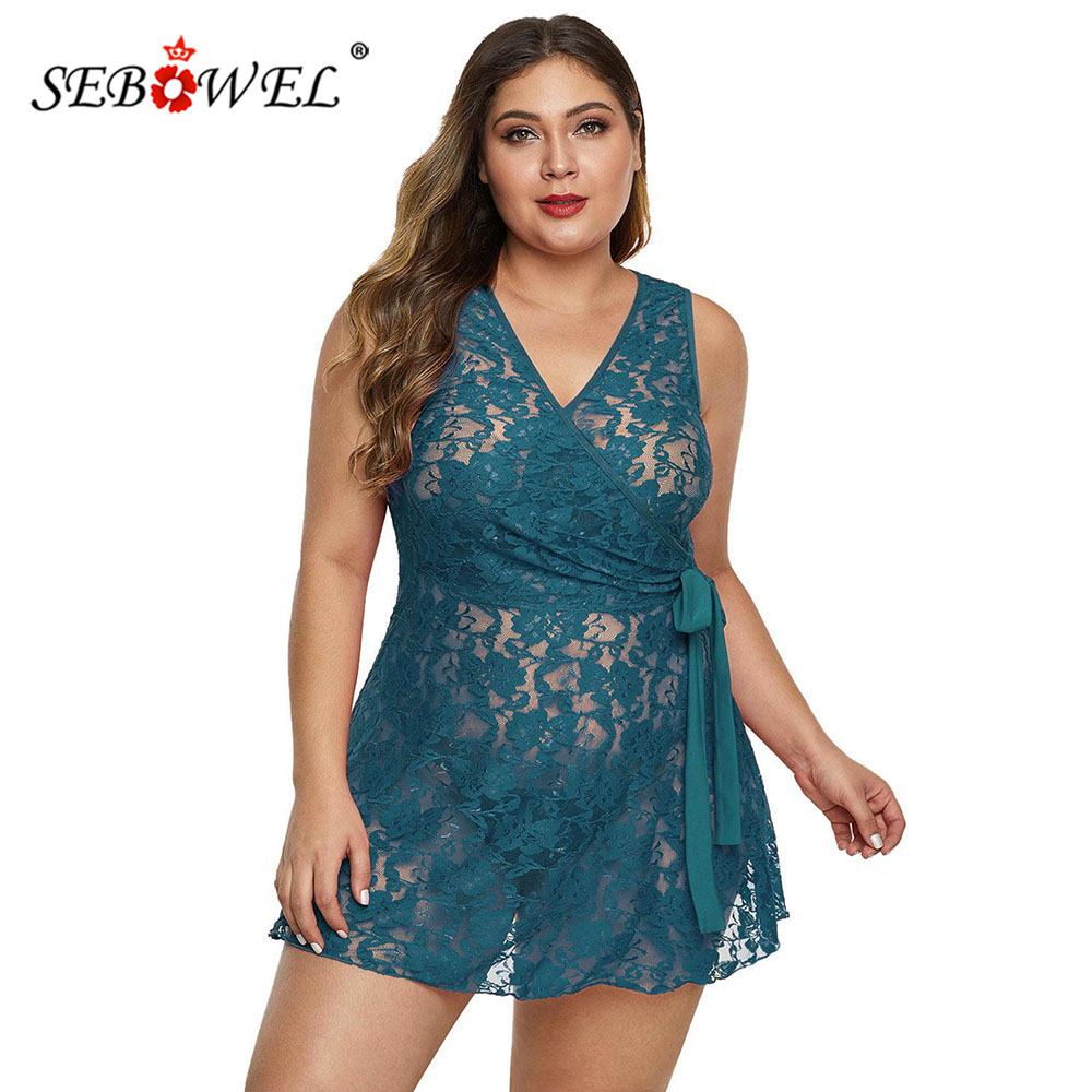 SEBOWEL Floral Lace Plus Size Woman's Wrap Sashes Lingeries Dress + Thong 2 Pcs Sets Lady Sleeveless Perspective Sheer Nightgown
