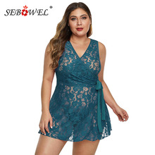 SEBOWEL Floral Lace Plus Size Womans Wrap Sashes Lingeries Dress + Thong 2 Pcs Sets Lady Sleeveless Perspective Sheer Nightgown