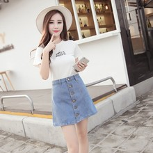 2019 Summer New Arrivals Denim Skirt High Waist A-line Mini Skirts Women Solid Color Fashion Single Button Blue Jeans Skirt fashion cute infant baby girl button a line mini skirts button party slim princess pageant skirt