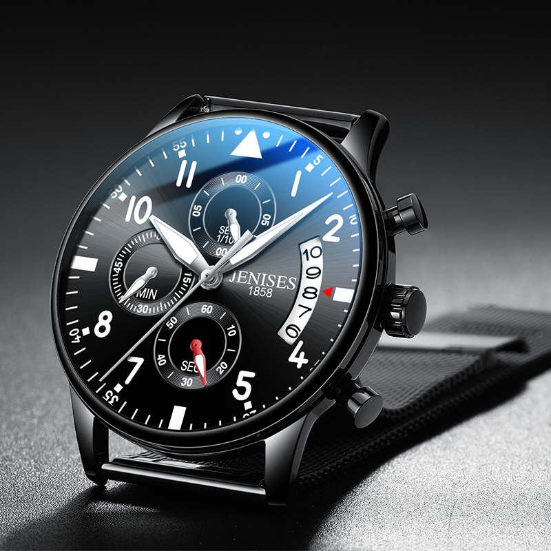 Jenises Men's Watch Calendar Chronograph Sports Men's Waterproof Quartz Watch Three Eyes 6 Pin Dial Brand All Steel Men's Watch