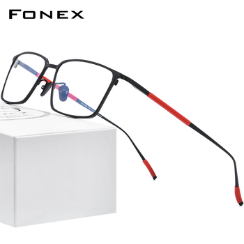 FONEX Pure Titanium Glasses Frame Men Square Eyewear 2020 New Male Classic Optical Myopia Prescription Eyeglasses Frames 8535 acetate glasses frame men square prescription eyeglasses new women male nerd myopia optical clear spectacles eyewear fonex