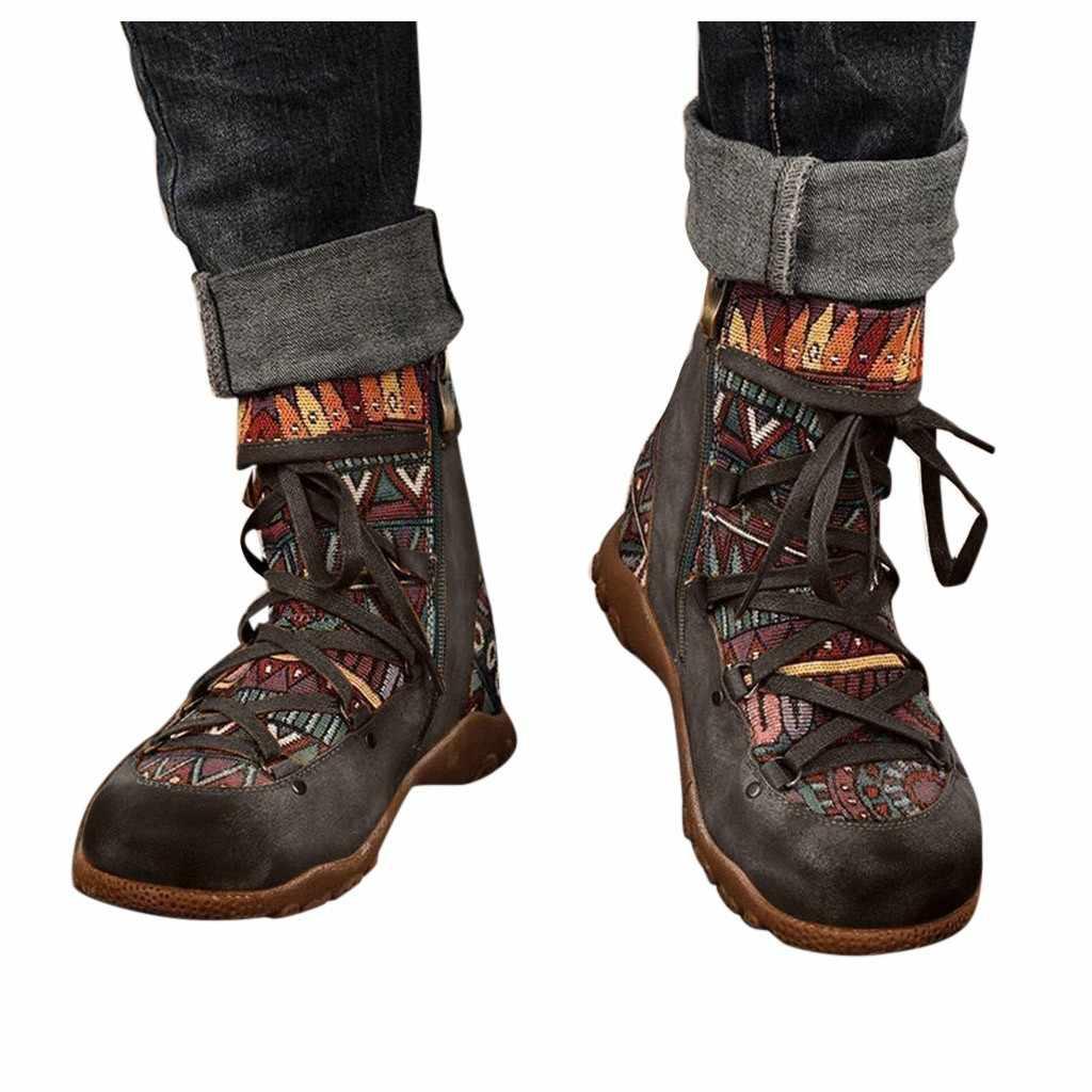 2020 Thu Đông Nữ Mới Của Nữ Retro Phong Cách Bohemian Mắt Cá Chân Khóa Kéo Ngắn Giày Boot Giày Casual Nữ Giày Boots 2020 # O22