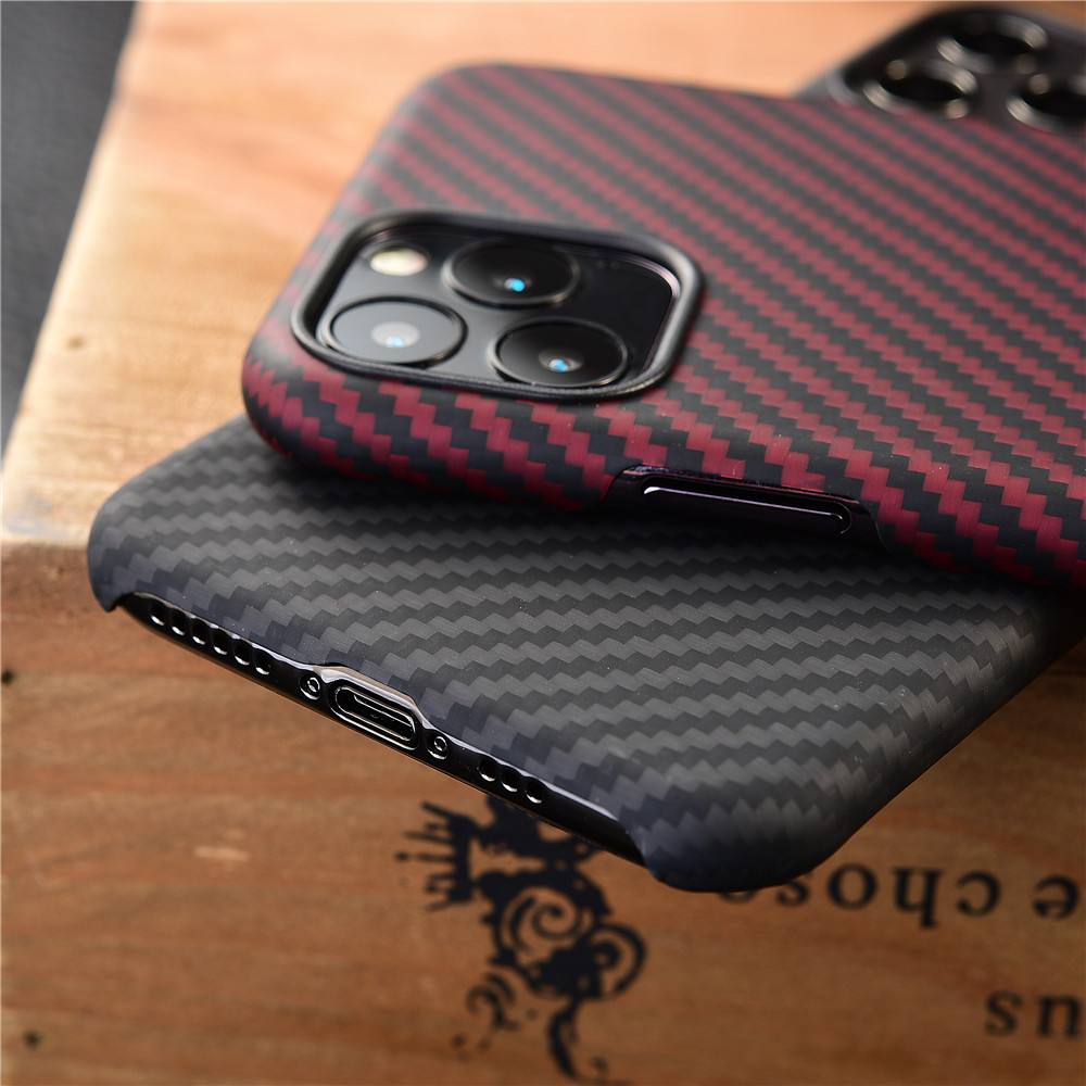 Image 4 - Thin strudy and lightweight protecive case for apple iphone 11 pro max carbon fiber back cover bumper aramid shellFitted Cases   -