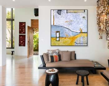 Abstract Painting Large Acrylic Canvas Wall Art Minimal Expressionism Modern Painting Wall Art On Canvas Yellow Telephone Booth