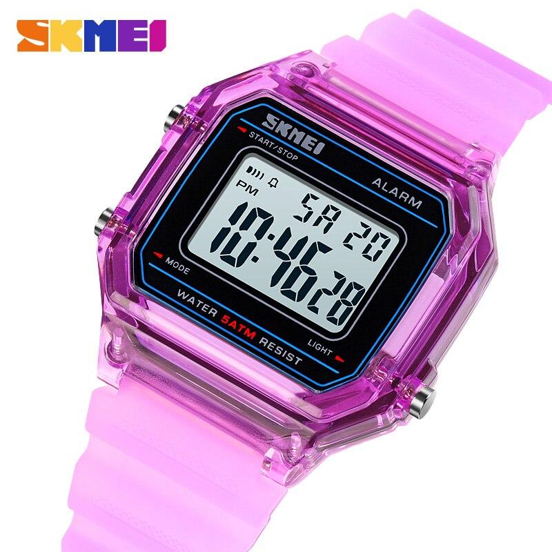 SKMEI Fashion Man Digital Watches 2020 Modern Waterproof Students Boys Girls Wrist Watch With Transparent Silicone Strap 1698