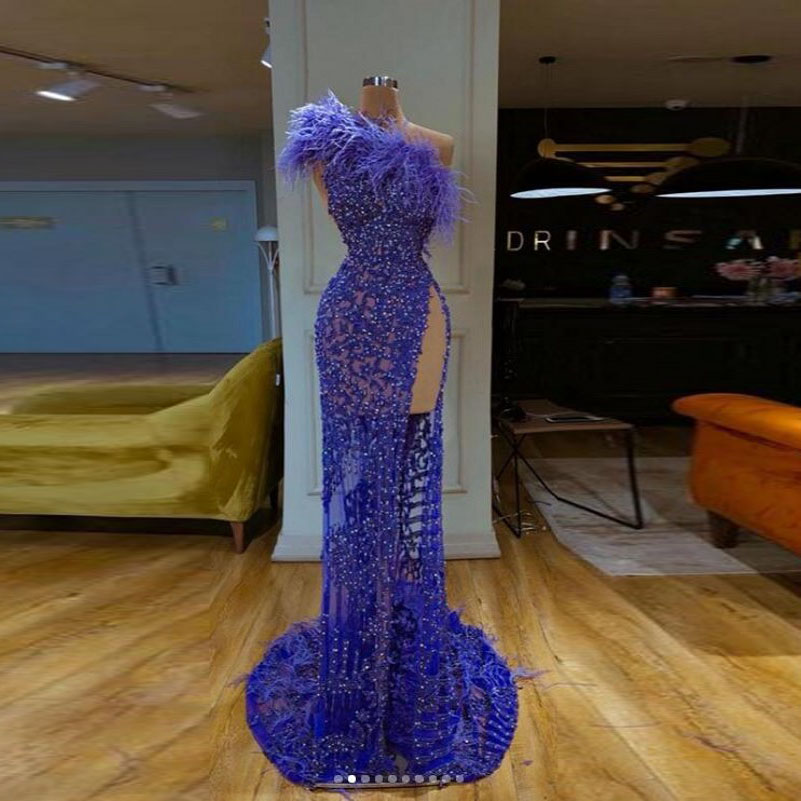 Vestido De Festa Longo Feathers Evening Dresses Beads Blue Robe De Soiree Long Evening Dresses Stunning Side Slit Party Dress