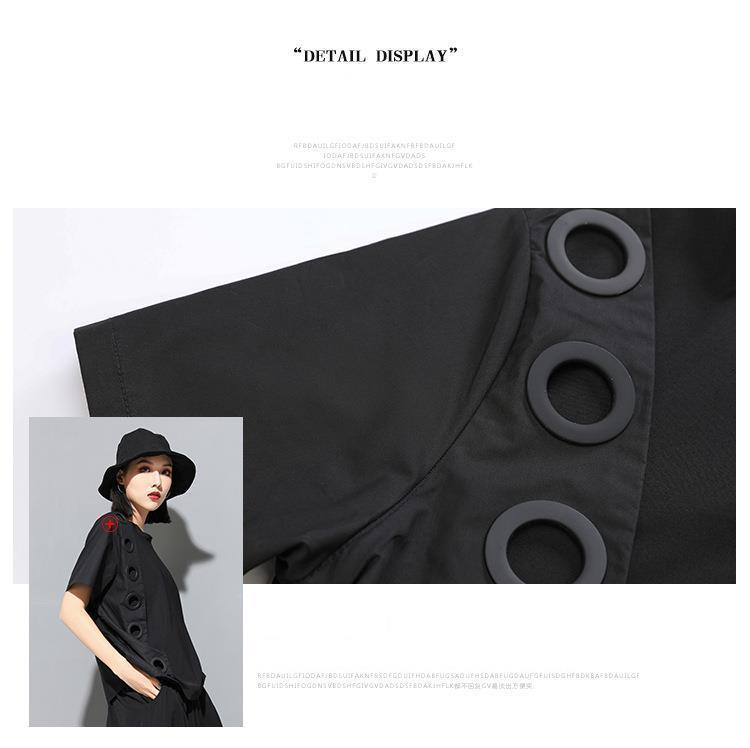New Fashion Style Black Hollow Out Split Joint Big Size T-Shirt Blouse Fashion Nova Clothing