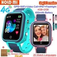 Reloj inteligente LT21 para niños, 4G, GPS, WIFI, llamada de vídeo, SOS, IP67, resistente al agua, Monitor de cámara, ubicación, reloj de teléfono