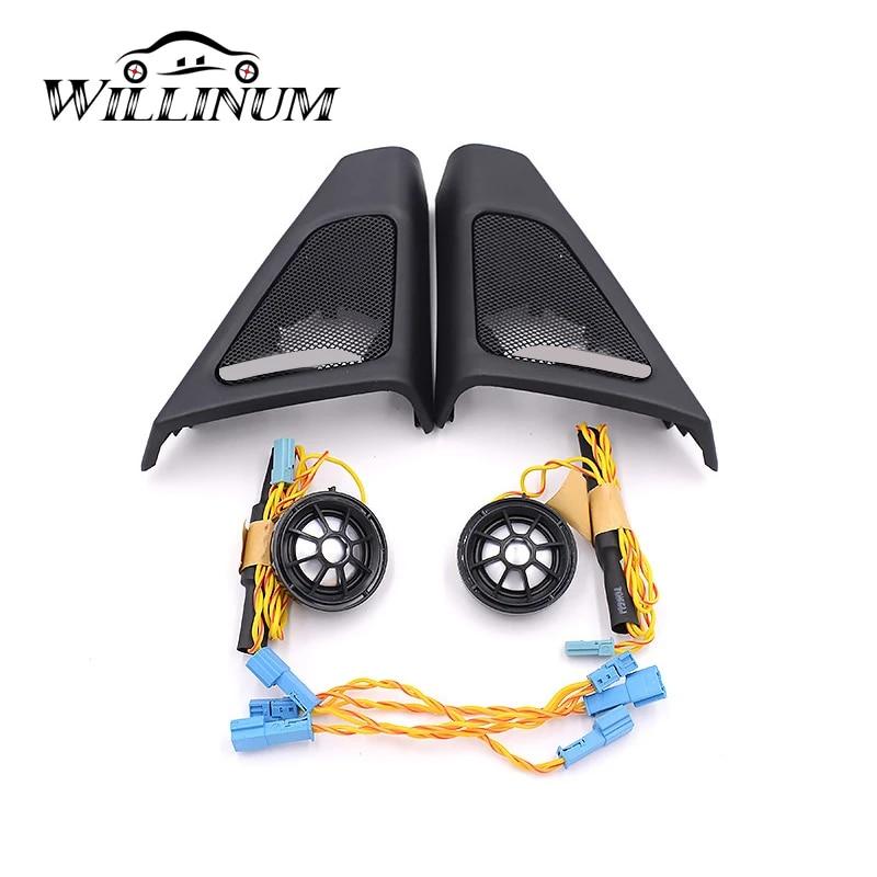 F10 F11 Car Front Door Speaker Domilay Audio Trumpet Tweeter Cover Head Treble Horn Frame Decoration Trim For