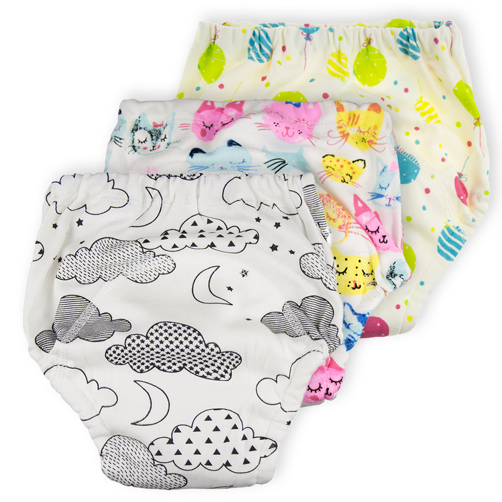 4 Layer Waterproof Reusable Baby Cotton Training Pants Infant Shorts Underwear Cloth Diaper Nappies Child Panties Nappy Changing