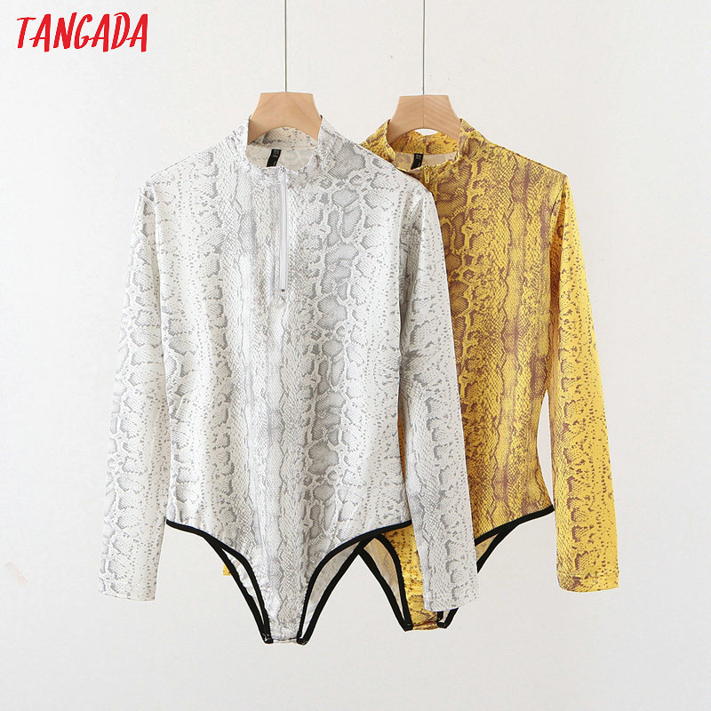 Tangada Fashion Women Snake Print Sexy Slim Playsuit Long Sleeve Zipper Vintage Female Sexy Strethy Bodysuit QB70