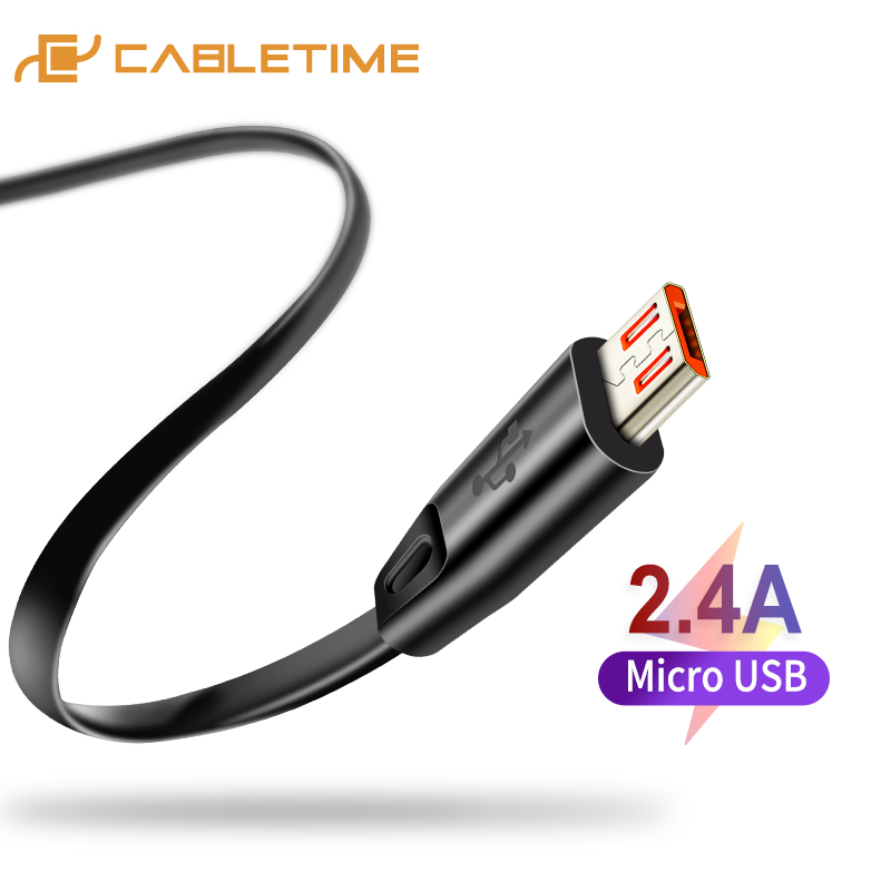 CABLETIME High Quality Micro USB Cable USB Cable For Samsung Xiaomi Android USB 2.4A Charge Cord Micro Usb Charger C141