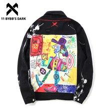 Jackets Jeans Overcoat Windbreaker Street-Wear Graffiti 11-Bybb's Mens Denim Hip-Hop
