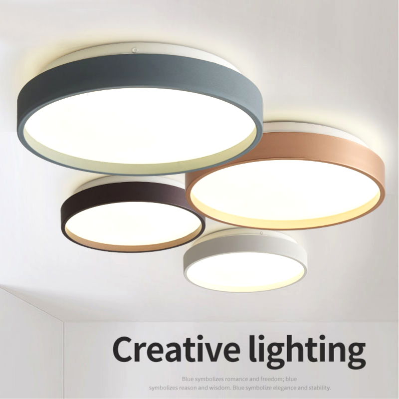 Modern Minimalist Round Bedroom Ceiling Lamp Nordic Style Simple LED Ceiling Lamp Hotel Bedroom  RC Dimmable  Ceiling Light