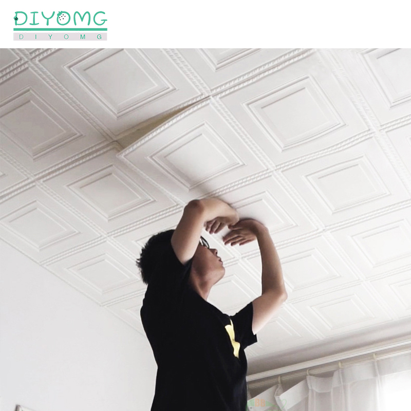 Self-adhesive Roof Ceiling Wallpaper 3D PVC Waterproof Wallpaper Living Room Background Decor Sticker Roof Ceiling Contact Paper