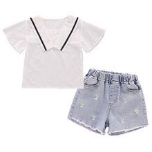 Летние комплекты одежды для девочек детские модные хлопковые