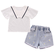 casul girls t shirt shorts two sets lace jeans shorts pants summer top tee white t shirt pure cotton butterfly cartoon clothes Summer Girls Clothes Sets Kids Fashion Cotton Sets Cotton Short Sleeve T-shirt + Denim Shorts Two-piece Set Children's Clothing