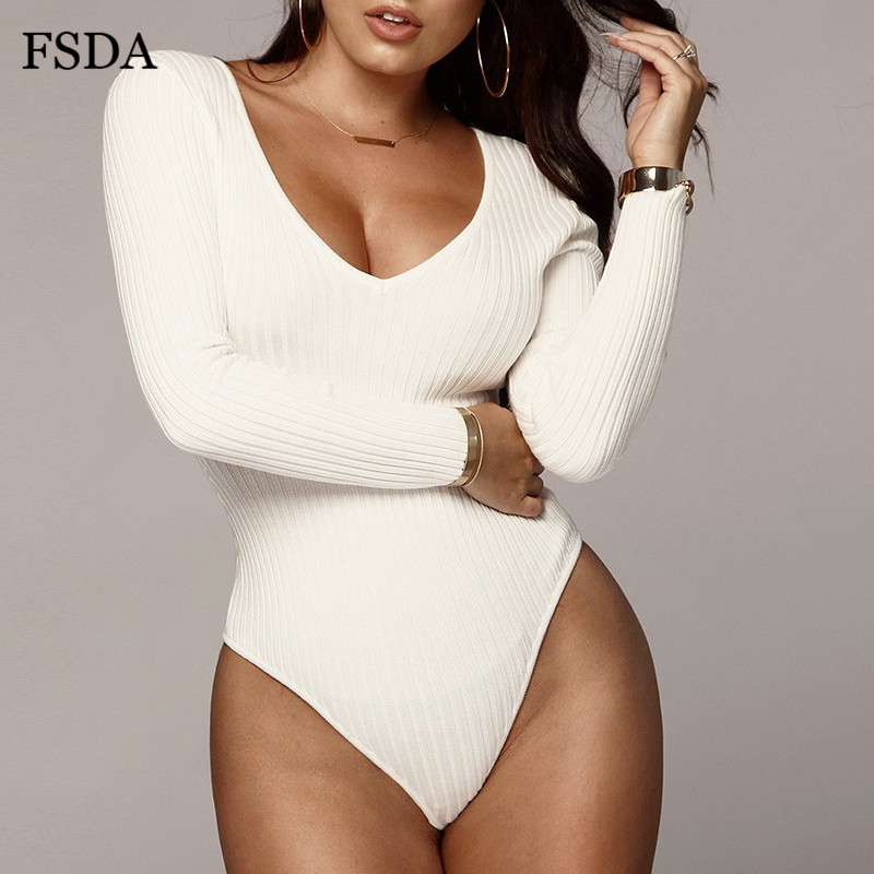 FSDA Off Shoulder Ribbed Knitted V Neck Bodysuit Women Sexy Backless Long Sleeve White Black Summer Autumn Bodysuits