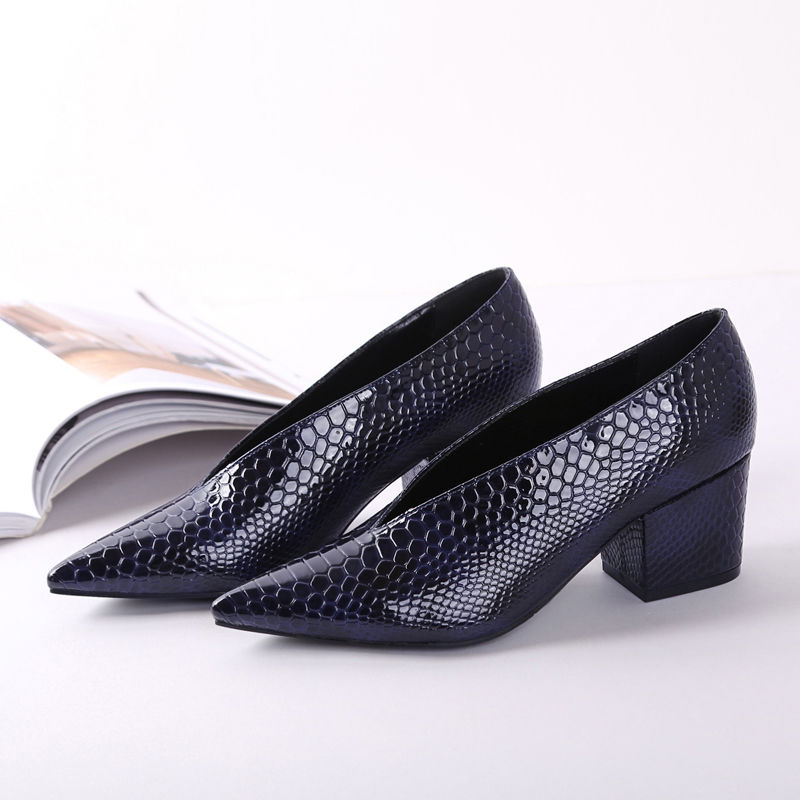 V Shape Mid Heels Woman Single Shoes Slip On Block Heel Grandma Shoes Patent Leather Footware for Office Lady Black Blue Red