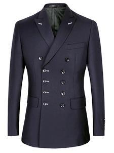 Tuxedo Blazer Navy Slim-Fit Double-Breasted Suits Wedding-Suit Black Blue Lapel Groom