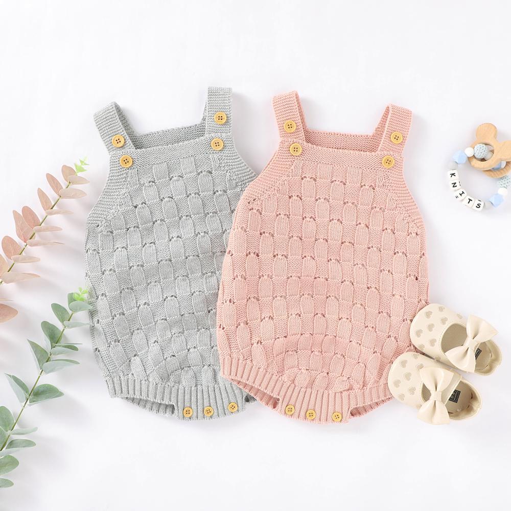 Macacão infantil de malha 100% algodão, roupas de corpo para bebês, recém-nascidos, meninos e meninas, peça única