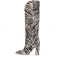Zebra Pattern Knee High Boots Women Imitation Horse Hair Suede Boots 11 Cm Round Heel Boots Spring Autumn New Arrival High Boots