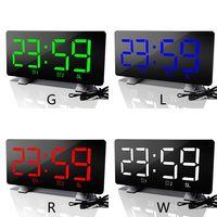 LED Radio Alarm Clock Mirror Table Luminous Digital Snooze Time Table Clock Room USB Charge