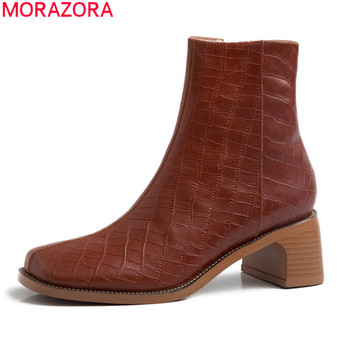 MORAZORA 2020 Winter fashion women boots genuine leather classic ladies shoes med heels square toe ankle boots big size 33-41