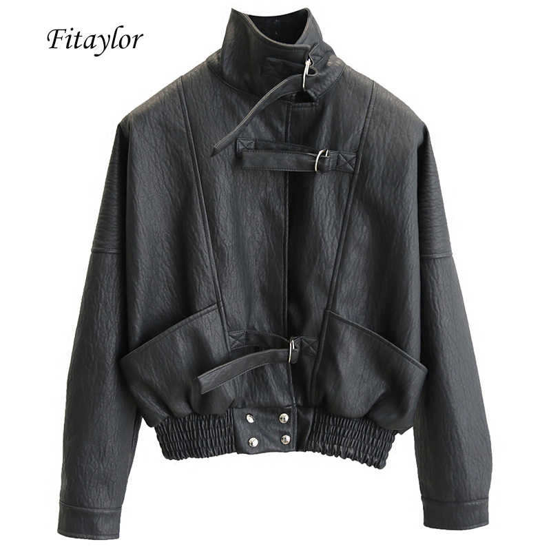 Fitaylor Harajuku Faux Leather jacket Batwing Sleeve Loose Biker Coat Casual Autumn Women PU Outwear Punk Bomber Jackets