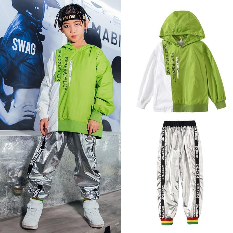 Hip Hop Dance Costumes Kids Modern Jazz Costumes Street Dancewear Hooded Sweater Hiphop Pants Performance Festival Outfit SL2201